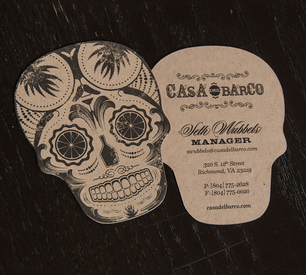 die cut sugar skull business card