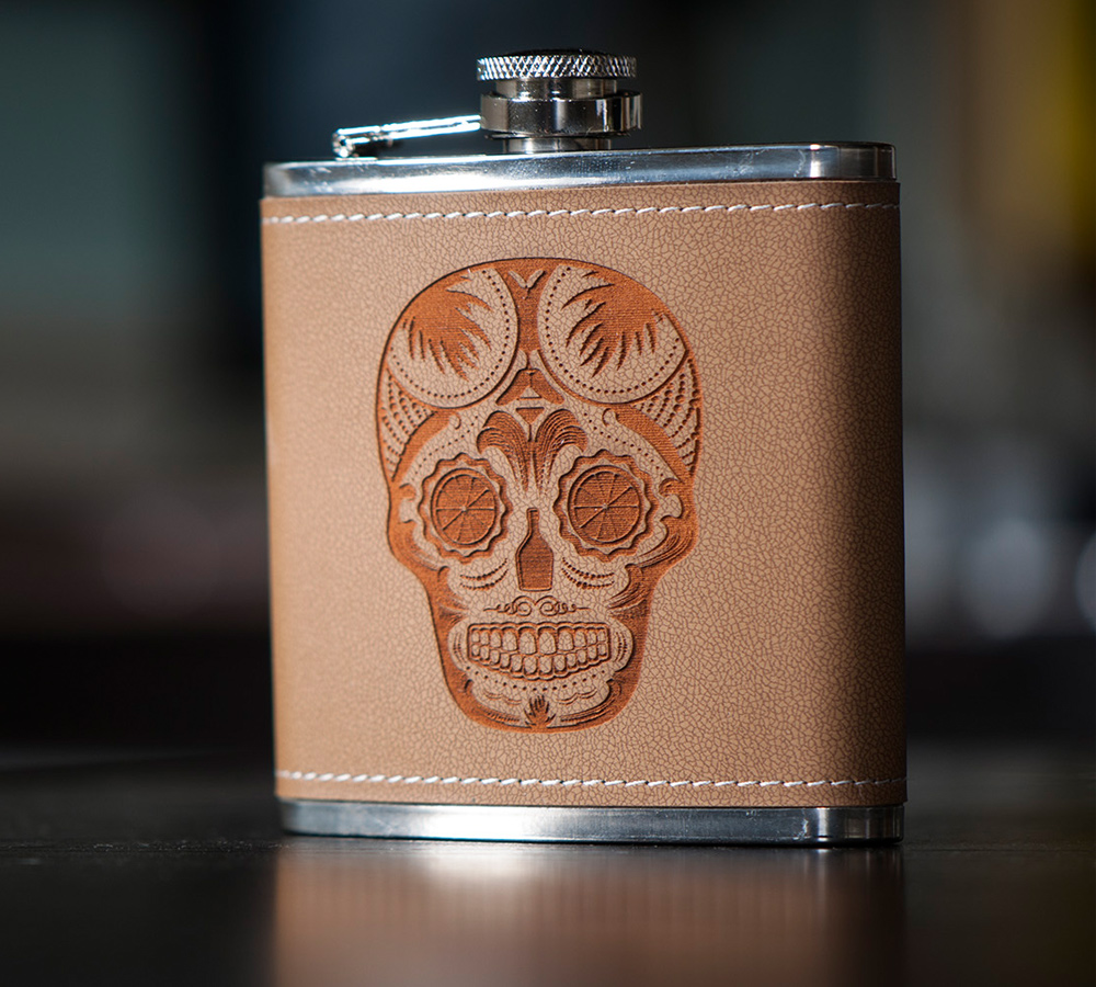 laser-engraved sugar skull flask