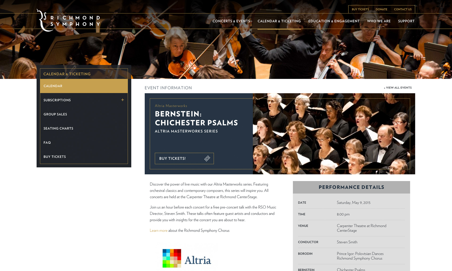 example of Richmond Symphony concert page