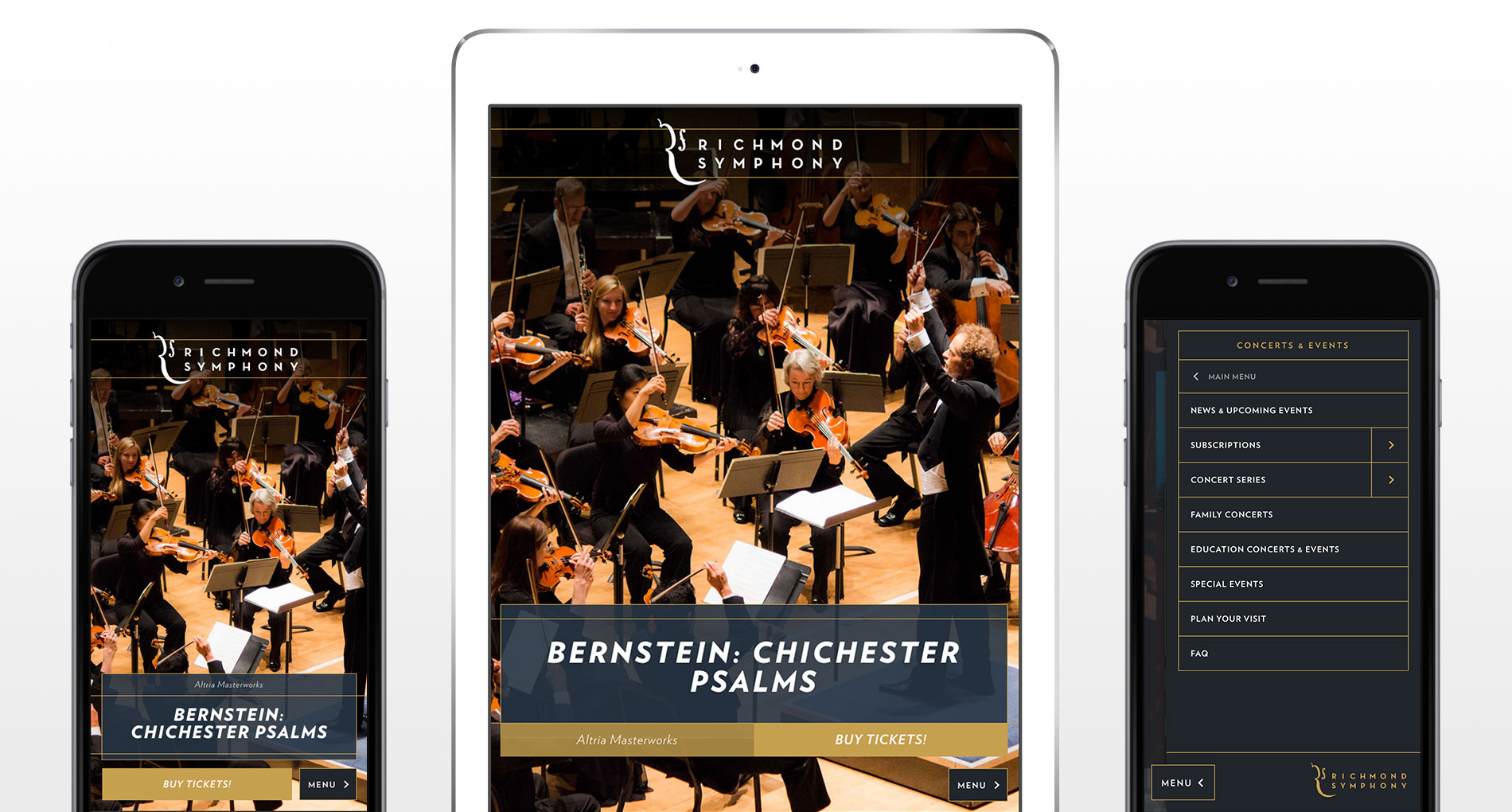 Richmond Symphony mobile navigation