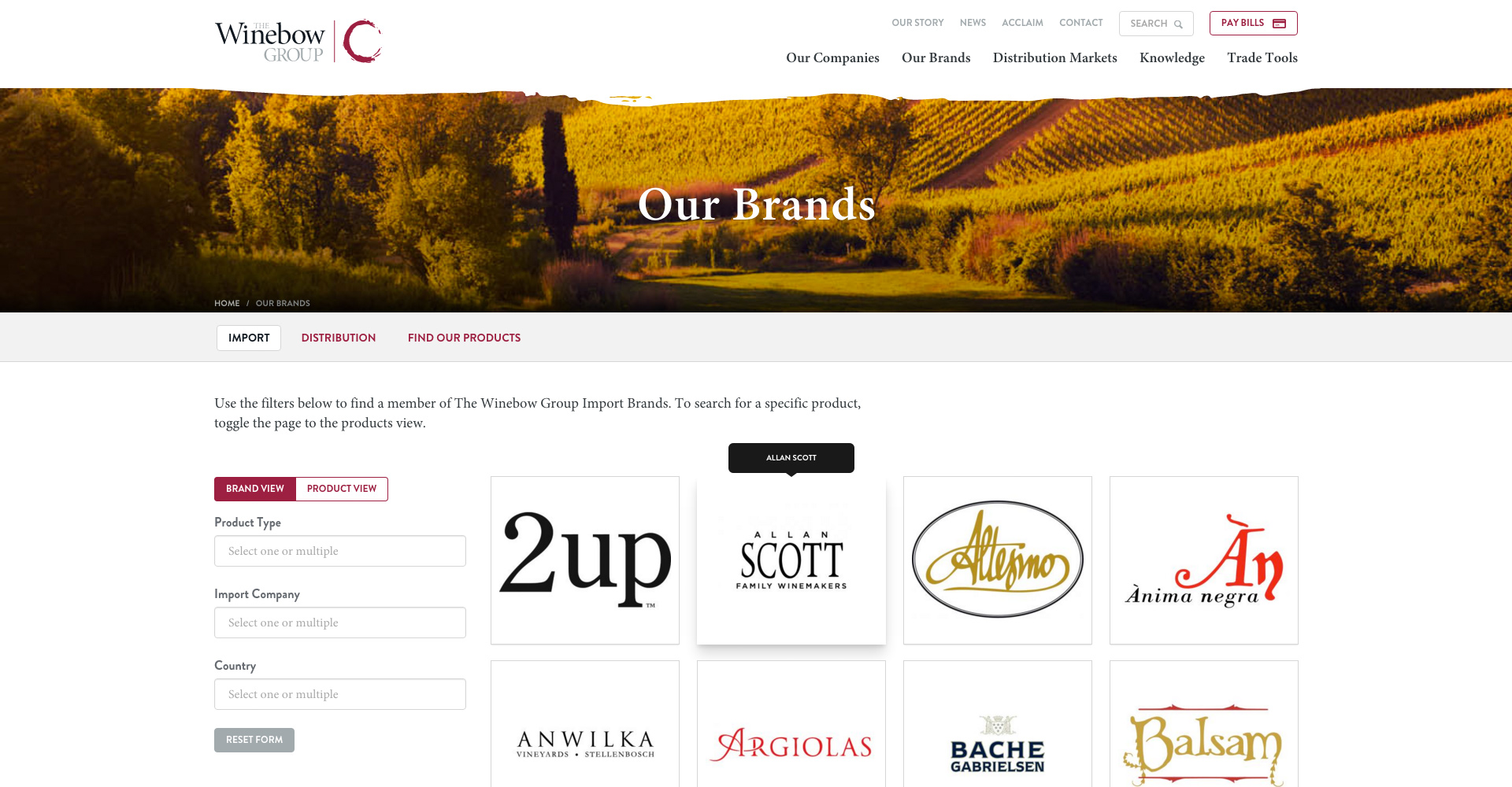 the winebow group brands page