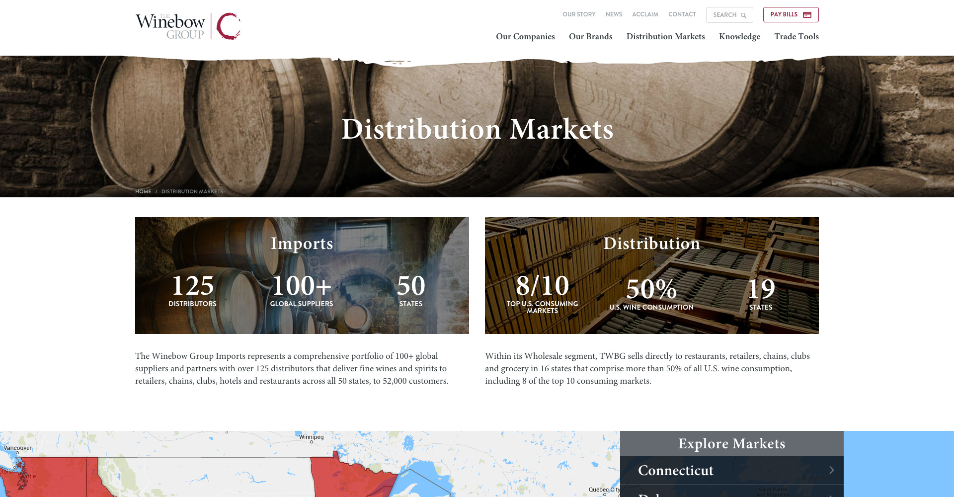 the winebow distribution markets page
